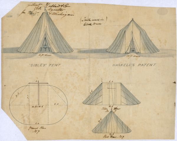 United States Army Regulation Tents | Drawing | Wisconsin Historical
