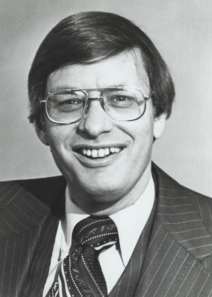 Head and shoulders portrait of Bud Selig, when he was President of the Milwaukee Brewers baseball team.
