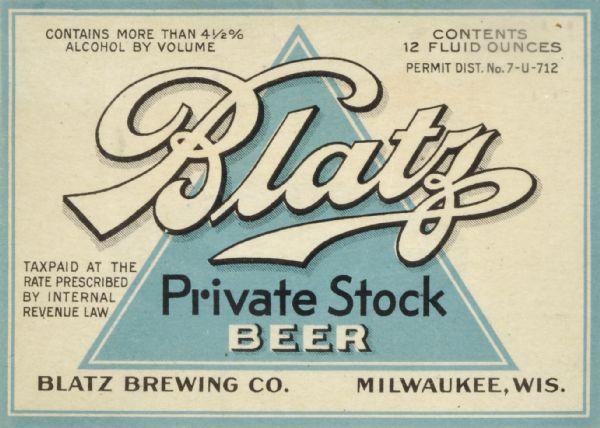 Blatz, Beer Label | Print | Wisconsin Historical Society | 600 x 428 jpeg 51kB