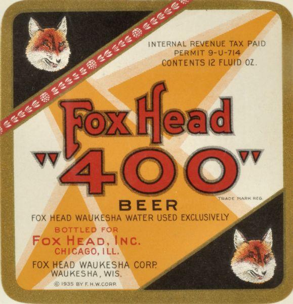 Fox Head 400 Beer Label Print Wisconsin Historical Society