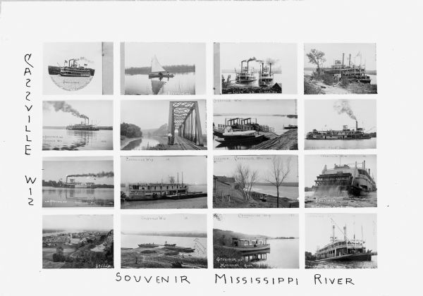 Composite of sixteen views mainly views of types of boats on the Mississippi River, including steamboats and excursion boats; one view is a bird-eye view of the community, another is of a bridge.