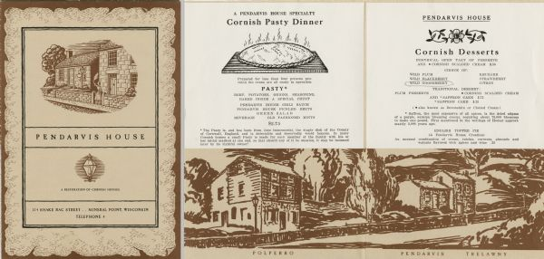 Menu of Cornish pasties and desserts offered by Pendarvis House, a group of restored stone houses built by Cornish settlers in Mineral Point. The cover of the menu has an illustration of a woman waving a cloth as she stands in the gateway of the stone house known as Trelawny, with a view of Pendarvis, the stone house next door. A small illustration of a streetlamp appears beneath the main image on the cover. The inside of the menu has an illustration of Trelawny and Pendarvis, as well as a third house, Polperro, along the same road. The insert for the Cornish pasty side of the menu features an illustration of a steaming-hot pasty.