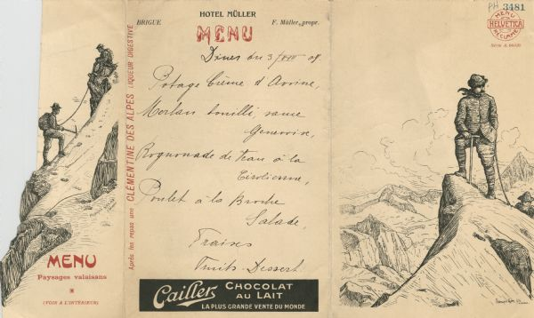 "Foldout menu from the Hotel Müller, with two men using a pick and line to ascend a mountain on the flap, which opens to reveal the men as they attain the summit. Both drawings are signed ""Francois Gos, fils Claseur(?)"". The menu listing is handwritten."