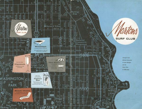 Front and back covers of the Mortons Surf Club menu, with a black on blue grid of Chicago streets from Lake Michigan to Vincennes Avenue, and E. 45th to E. 57th Streets. Spot illustrations of beverages and a beach chair and patio umbrella are superimposed on the back cover.