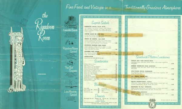 Luncheon menu from the Rigadoon Room in the Edgewater Hotel, with a gargoyle figure against a background of tied-back drapery, and spot illustrations of the hotel, diners, a chef, a sailboat, and the hotel crest on the menu pages. Printed in teal and black.