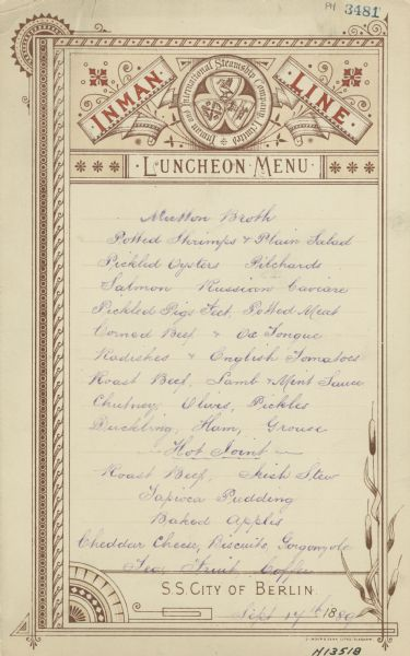 One-page menu with a roundel with the seal of the Inman and International Steamship Company Limited, decorative borders, and corner ornaments.