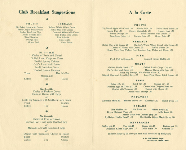 Interior of the breakfast menu for the Northern Pacific Railway, with set menu (65 cents to $1.10) and à la carte selections.
