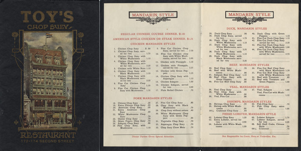 Front cover and first two menu pages of a multi-page Mandarin and American style menu, with a tipped-in illustration of the facade of the restaurant, with people standing near the doorway.