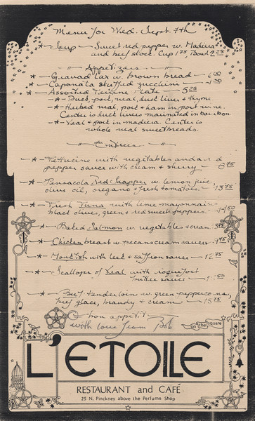 One-page dinner menu for L'Etoile Restaurant and Café, with a handwritten menu listing and illustrations of encircled five-point interlaced stars, birds, butterflies, vines, and the state capitol dome.