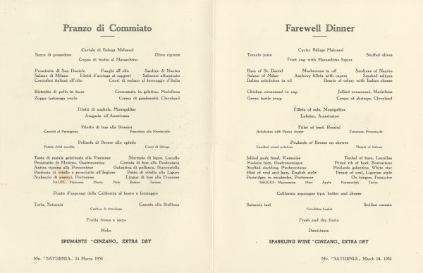 Interior of the farewell dinner menu for the Italian Line ship Mv. <i>Saturnia</i>, with menu in Italian and English.