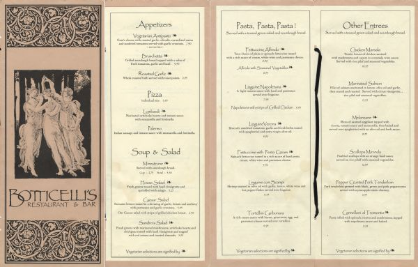 Front cover and menu pages from Botticelli's Restaurant, with an image of the Three Graces based on a detail from the Sandro Botticelli painting, <i>Primavera</i>. Botticelli's operated from the early 1990s to 1997.