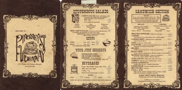 Lunch menu from the Pinckney Street Hide-away. Features an illustration of a stacked sandwich within decorative borders on the front cover, and on the inside, text with spot illustrations and decorative frames. Printed in dark brown ink on cream cardstock.