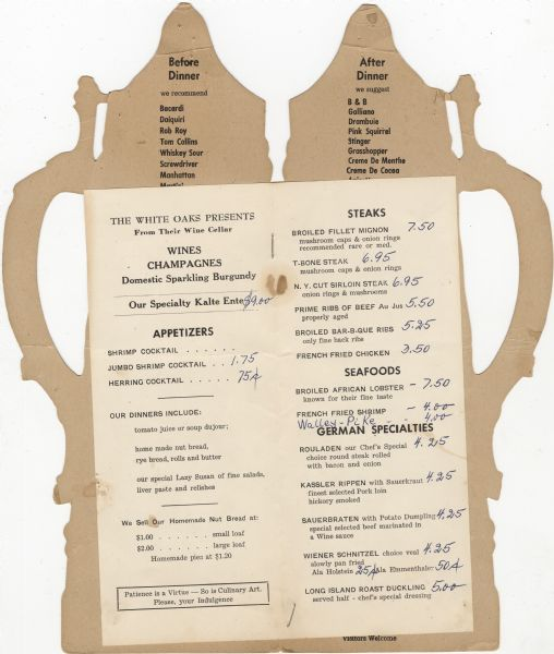Interior of the White Oak's Restaurant = Rathskeller menu, with a sheet listing German specialties, as well as appetizers, steaks, and seafood.