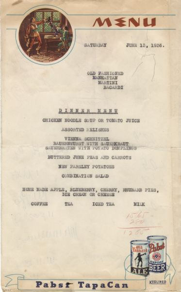 "One-page dinner menu for the Steuben Hof, a German American restaurant, on a form menu with a roundel illustration of three men raising their tankards in a toast at a table near a window and typewritten menu items, including Vienna schnitzel, bauernwurst with sauerkraut, and sauerbraten with potato dumplings. Two cans advertise ""Pabst TapaCan"" beer at the bottom."