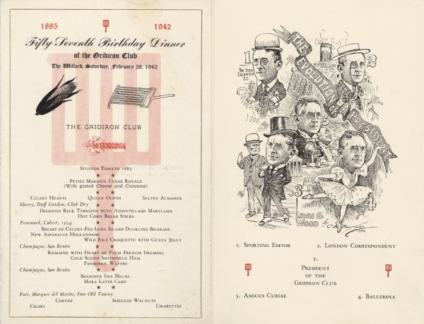 "Front cover and illustration from insert for the inauguration of club president Lewis Wood, with numbered illustrated phases of his career, and a banner reading, ""The Evolution of a President,"" by cartoonist Clifford Berryman."