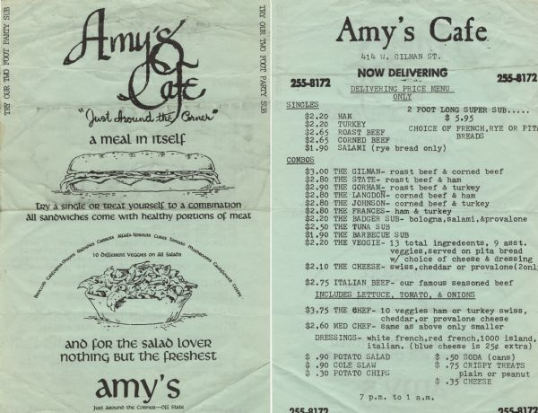 Front and back of two-sided delivery menu from Amy's Cafe, with drawings of a sandwich and a salad on the front.