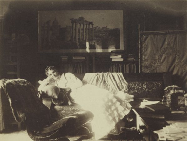 Sarah Fairchild Dean Conover, sister of Civil War hero and governor Lucius Fairchild, reclines on a sofa in her home at 424 North Pinckney Street.