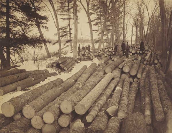 Men loading logs at D.J. Arpin's Crooked Reef camp.