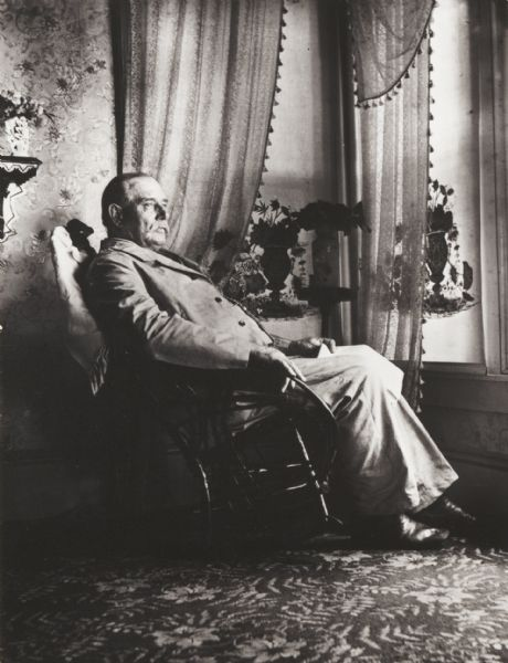 Indoor portrait of Mr. Daniel Fitch Brown, father-in-law of the photographer.