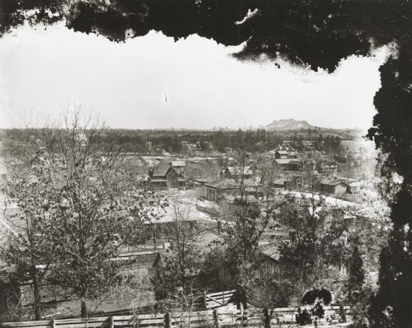 Elevated view of town, probably looking south from the Van Schaick residence.