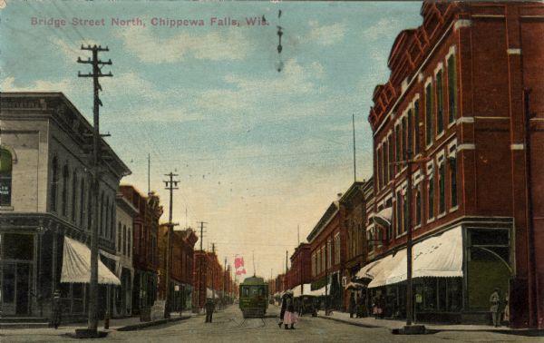 Bridge Street Stores >> Bridge Street North Chippewa Falls Wis Postcard