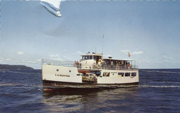 "Color photographic postcard of the ""C.G. Richter,"" a ferry operating between mainland Door County and Washington Island in Wisconsin."
