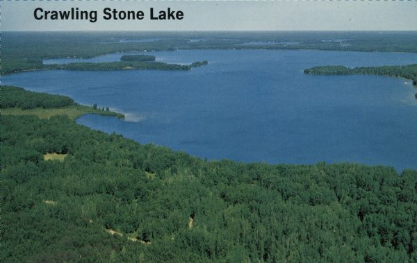 Aerial photograph of a lake in the Lac du Flambeau chain of lakes.