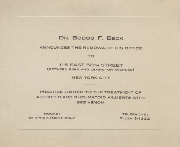dr bodog f beck moving announcement bee venom document