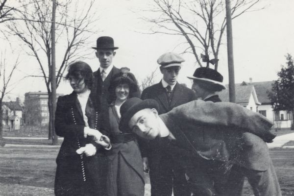 Outdoor group portrait of Arthur Altmeyer as a young man posing in Wingra Park with five other young people identified as Selma, Russell, Lloyd, May Wescott and Diggie.<p>Arthur Altmeyer was a lifelong public welfare advocate, beginning with social security policy formulation in 1934.