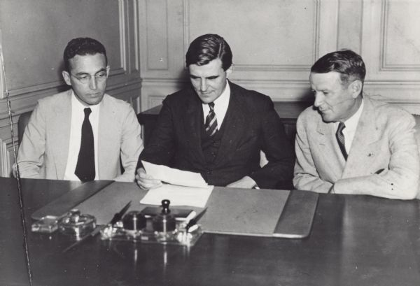 From left to right: Arthur J. Altmeyer, John G. Winant, and Vincent M. Miles at the first meeting of the Social Security Board.