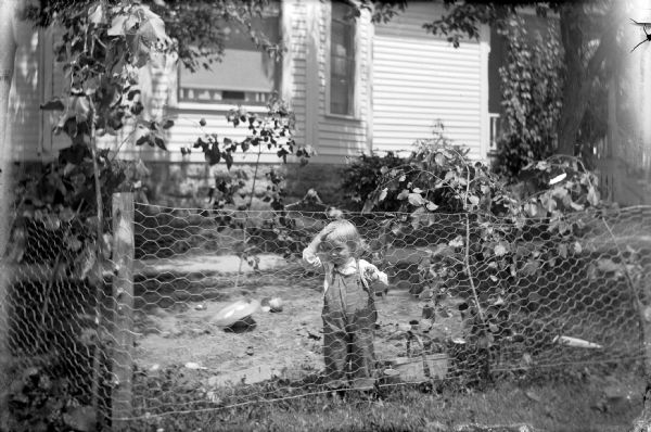 Dressed in overalls, young Robert Ansorge grips the links of a makeshift play pen fence with his left hand. His right hand is on his forehead, and he is looking through the chicken wire at the photographer. Behind Robert a straw hat lays overturned in the dirt. Otto Ansorge's house is in the background.
