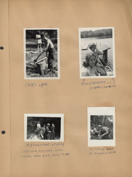 Page from Sue Ann Hackett Scrapbook displaying several photographs of Joy Camps activities. Includesa young camper with a hatchet and piece of wood; two campers sitting on a dock; one camper working with utensils over a tarp on the ground (with other campers around her); and a group of campers departing Beaver Point. The captions are handwritten in blue ink.