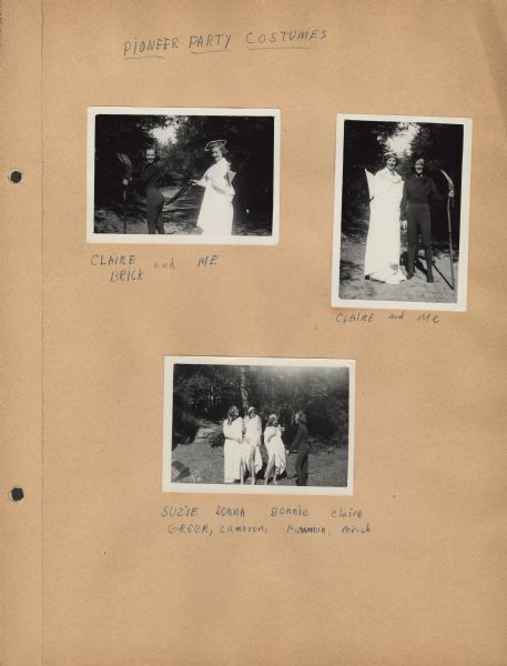 Page from Sue Ann Hackett Scrapbook displaying three photographs from the Pioneer Party at Joy Camps. Campers are in outdoor settings dressed in costumes. The captions are handwritten in blue ink.