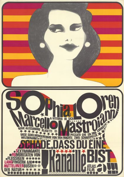 "German film poster for the re-release of the Italian film, ""Peccato che sia una canaglia."" The top half of the poster of an illustration of a woman from her shoulders up, with dark hair and white earrings against a colorful background. Below her are the cast names and film title forming an hour-glass shape."