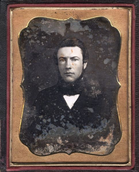 Quarter plate daguerreotype of William Beers, facing foward, wearing dark suit and tie, and chin whiskers.