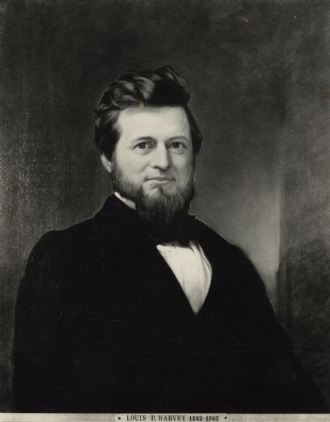Waist-up portrait of Governor Louis P. Harvey, 7th governor of Wisconsin.