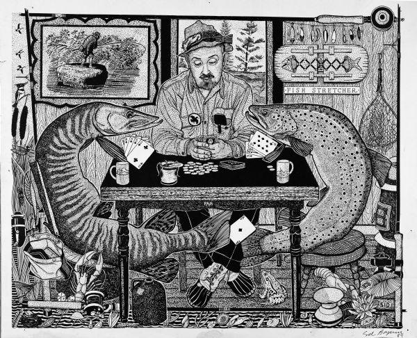 "Imaginative pen-and-ink drawing of a man sitting at a table (inscribed PAM) and playing cards with a salmon and a muskelunge (muskie). The muskelunge appears to be passing an ace of diamonds to the trout under the table with his tail. On the back wall are a framed print and a fish stretcher below a rod with many lures. This card game is framed on all sides with fishing reels. Outside the left reel is a margin of ducks flying, a kingfisher sitting in a cattail, a dragonfly resting on grass, and a stash of fishing equipment and a pair of die denoting the chance of a game (cards or fishing). The bottom edge is a water scene of aquatic life like crayfish and shells.   This drawing appeared in the <i>Wisconsin State Journal</i> on May 11, 1973 with Sid's caption: ""As long as we are all antsy as fish out of water waiting for the season to open, what could be more relaxing than an honest game of stud poker with two worth protagonists. It is obvious that card sharks are not all sharks."" He adds ""Good luck and good fishing."" Sid's authorship is in the lower right corner included with his hand signature and the year ""89."""