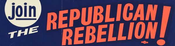 "A bumper sticker with blue, white and orange text on a blue background, that reads: ""join the Republican Rebellion!"""