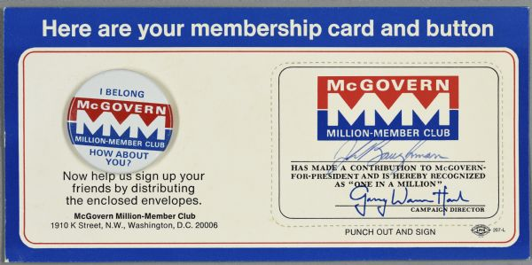 One membership pin and card for the McGovern Million-Member Club.