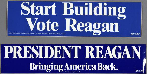 Presidential political campaign bumper stickers