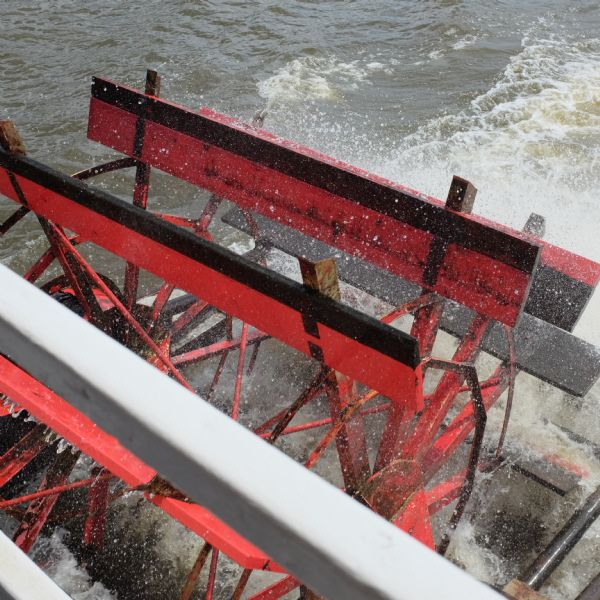 "Close-up view of the paddle wheel on the river cruise ship ""Spirit of Dubuque."""
