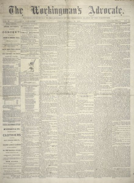 "Page one of ""The Workingman's Advocate."" The front page of the newspaper includes an illustration that advertises ""Artificial Legs and Arms"" for wounded Civil War veterans towards the top of the second column."