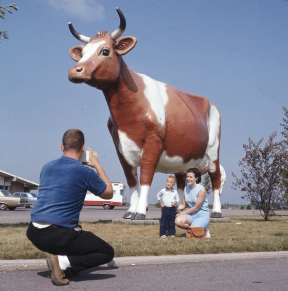 Rear view of a man kneeling on the ground while taking a photograph of his wife and son who are posing in front of a large fiberglass statue of a brown and white cow. The woman is kneeling next to the boy who is standing. Automobiles are sitting in the parking lot in the background.
