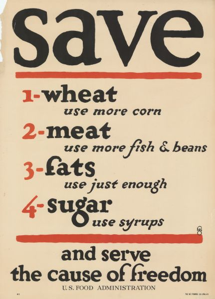 Poster identifying substitute foods for civilians to use, to help the war effort. Substitutes listed are: 1. Wheat - use more corn 2. Meat - use more fish and beans 3. Fats - use just enough 4. Sugar - use syrups.