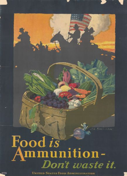 Poster with an illustration of soldiers silhouetted against a colorful sky riding on horseback and carrying an American flag. In the foreground is a basket full of produce.