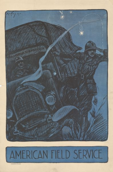 Poster featuring an illustration of a French ambulance driving at night. The driver is wearing a helmet, and the man standing on the side of the truck is looking ahead scanning the horizon. In the background two signal flares are tracing their arcs through the sky.