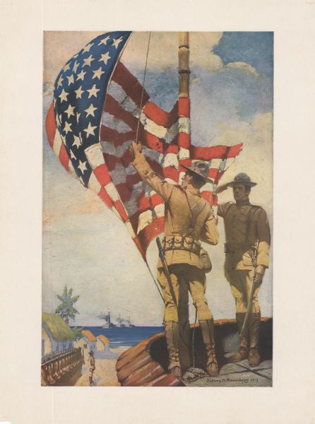 Poster featuring an illustration of two Marines corpsmen at a beach fort. One Marine is raising a U.S. flag while the other Marine is saluting. In the background, a row of Marines are standing at attention, and warships are on the horizon.