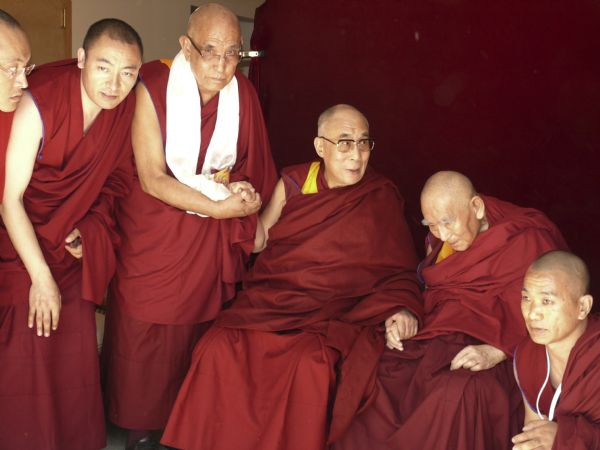 His Holiness, the Dalai Lama, Geshe L Sopa, Jangtse Choje Rinpoche and resident monks of Deer Park Buddhist Center.