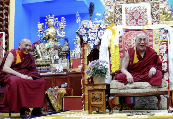 His Holiness, the Dalai Lama and Geshe L Sopa, Deer Park Abbot, sharing a laugh at the Deer Park Buddhist Center Temple.