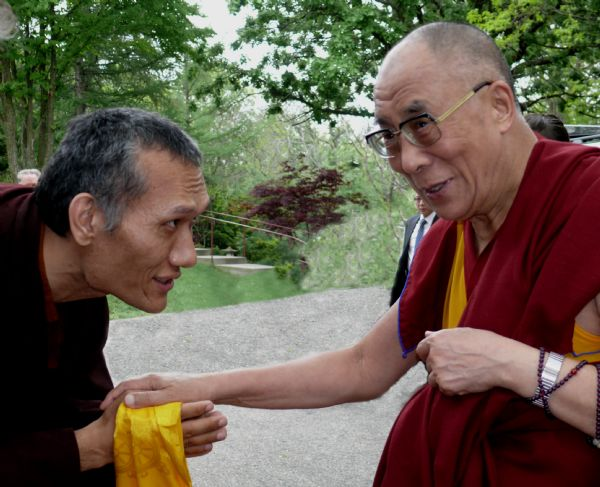 Yangsi Rinpoche greeting His Holiness, the Dalai Lama at the Deer Park Buddhist Center.
